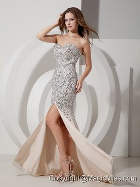 Champagne Mermaid Sweetheart Brush Train Chiffon Rhinestone Prom Dress