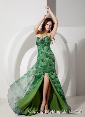 Elegant Empire Sweetheart Brush Train Printing Beading Prom Dress