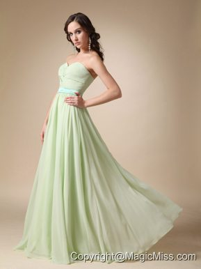 Yellow Green Empire Sweetheart Floor-length Belt Chiffon Prom / Evening Dress