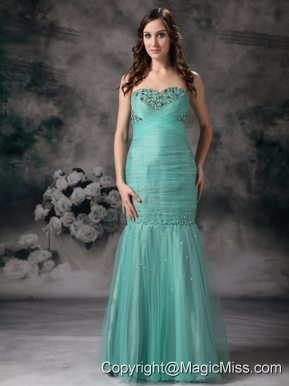 Turquoise Mermaid Sweetheart Floor-length Organza Beading Prom Dress