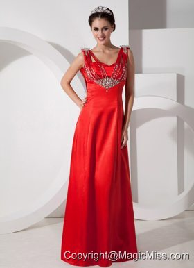 Pretty Red Empire V-neck Evening Dress Satin Beading Floor-length