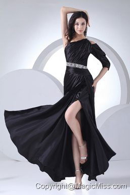Beading Decorate Wasit High Slit Black Elastic Woven Satin Ankle-length One Shoulder 2013 Prom Dress