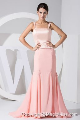 Light Pink Straps Mermaid Taffeta and Chiffon Brush Train 2013 Prom Dress