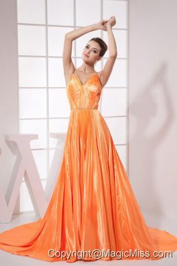 Orange Red Beading Pleat Elastic Woven Satin Brush Train 2013 Prom Dress