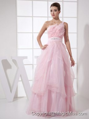 One Shoulder Beading Custom Made Floor-length Pink Organza 2013 Prom Dress