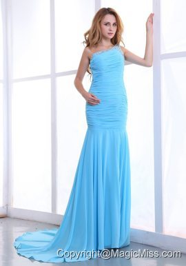 One Shoulder Decorate Bodice Ruching Light Blue Chiffon Brush Train 2013 Prom Dress