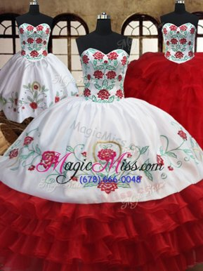 Glittering Three Piece White and Red Sweetheart Neckline Embroidery and Ruffled Layers Sweet 16 Dresses Sleeveless Lace Up