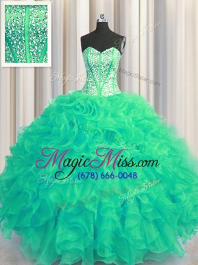 Smart Visible Boning Beaded Bodice Turquoise Sleeveless Floor Length Beading and Ruffles Lace Up 15 Quinceanera Dress