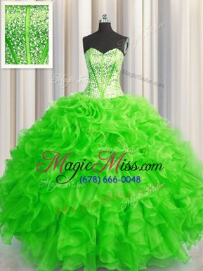 Adorable Visible Boning Beaded Bodice Ball Gowns Beading and Ruffles 15th Birthday Dress Lace Up Organza Sleeveless Floor Length