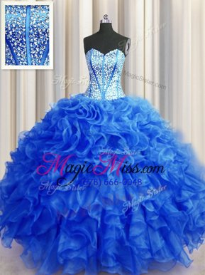 Sweet Visible Boning Beaded Bodice Sweetheart Sleeveless Ball Gown Prom Dress Floor Length Beading and Ruffles Royal Blue Organza
