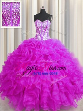 Popular Visible Boning Beaded Bodice Floor Length Lace Up Quinceanera Dress Fuchsia and In for Military Ball and Sweet 16 and Quinceanera with Beading and Ruffles