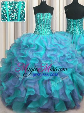 Nice Visible Boning Beaded Bodice Multi-color Ball Gowns Strapless Sleeveless Organza Floor Length Lace Up Beading and Ruffles Quinceanera Dress