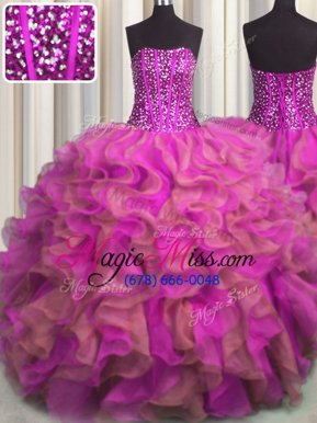 Stunning Visible Boning Beaded Bodice Multi-color Sleeveless Beading and Ruffles Floor Length Ball Gown Prom Dress