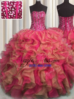 Admirable Visible Boning Beaded Bodice Multi-color Sweet 16 Dress Military Ball and Sweet 16 and Quinceanera and For with Beading and Ruffles Strapless Sleeveless Lace Up