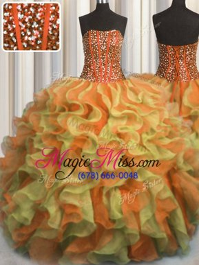 Sophisticated Visible Boning Beaded Bodice Floor Length Ball Gowns Sleeveless Multi-color Quinceanera Gowns Lace Up