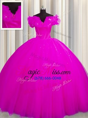 Nice Off The Shoulder Short Sleeves With Train Ruching Lace Up Ball Gown Prom Dress with Fuchsia Court Train