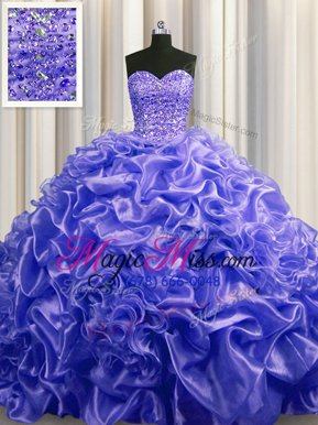 Fabulous Purple Sleeveless Court Train Beading and Pick Ups With Train Sweet 16 Dress