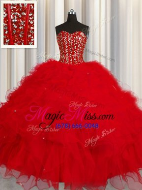 Modest Visible Boning Sleeveless Tulle Floor Length Lace Up Quinceanera Dress in Red for with Beading and Ruffles and Sequins