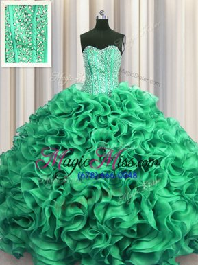 Fashionable Visible Boning Floor Length Ball Gowns Sleeveless Turquoise 15 Quinceanera Dress Lace Up