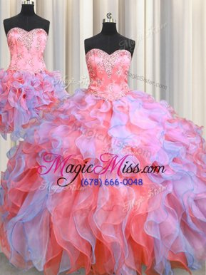 Enchanting Three Piece Multi-color Organza Lace Up Sweetheart Sleeveless Floor Length Quinceanera Gown Beading and Appliques and Ruffles