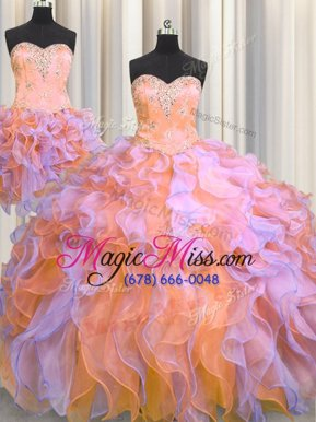 Fashion Three Piece Multi-color Ball Gowns Beading and Appliques and Ruffles 15th Birthday Dress Lace Up Organza Sleeveless Floor Length