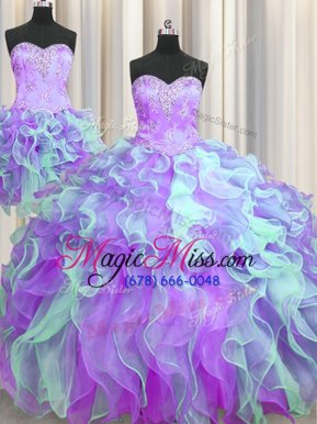 Spectacular Three Piece Sweetheart Sleeveless Organza Quinceanera Dresses Beading and Appliques Lace Up