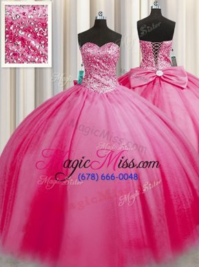 Eye-catching Big Puffy Rose Pink Ball Gowns Tulle Sweetheart Sleeveless Beading Floor Length Lace Up 15 Quinceanera Dress