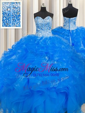 Glorious Visible Boning Beaded Bodice Sleeveless Organza Floor Length Lace Up 15th Birthday Dress in Blue for with Beading and Ruffles