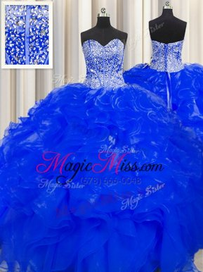 Flirting Visible Boning Beaded Bodice Sleeveless Beading and Ruffles Lace Up Quinceanera Dress