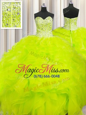 Colorful Visible Boning Beaded Bodice Sleeveless Lace Up Floor Length Beading and Ruffles Quinceanera Dresses