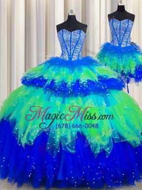 Colorful Three Piece Visible Boning Sleeveless Lace Up Floor Length Beading and Ruffles and Ruffled Layers and Sequins Quinceanera Dresses