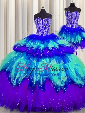 Dramatic Three Piece Visible Boning Multi-color Sleeveless Beading and Ruffles and Ruffled Layers and Sequins Floor Length 15th Birthday Dress