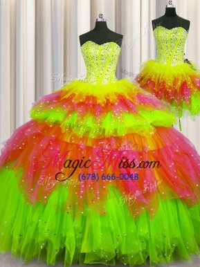 Edgy Three Piece Visible Boning Sleeveless Floor Length Beading Lace Up Quinceanera Dresses with Multi-color