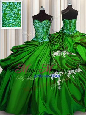 Elegant Ball Gowns Sweet 16 Dress Green Sweetheart Taffeta Sleeveless Floor Length Lace Up
