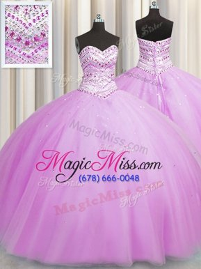 Pretty Bling-bling Really Puffy Sleeveless Floor Length Beading Lace Up 15th Birthday Dress with Lilac
