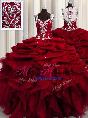 Hot Selling See Through Straps Sleeveless Organza Quinceanera Gowns Beading and Ruffles and Sequins Zipper
