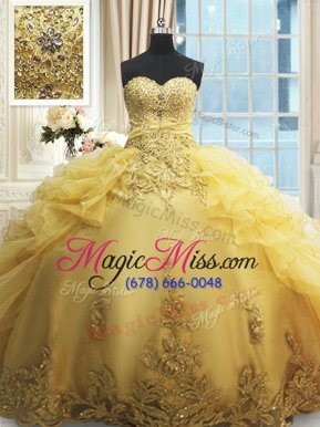 Sweet Floor Length Lace Up 15 Quinceanera Dress Yellow and In for Military Ball and Sweet 16 and Quinceanera with Beading and Appliques and Ruffles