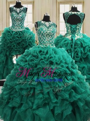 Perfect Four Piece Dark Green Sweet 16 Quinceanera Dress Military Ball and Sweet 16 and Quinceanera and For with Beading and Ruffles Scoop Sleeveless Lace Up