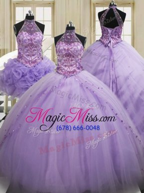 Lovely Three Piece Halter Top Lavender Sleeveless Brush Train Sequins Quinceanera Gown