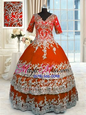 Colorful Orange Red Zipper V-neck Beading and Appliques and Ruffles Sweet 16 Dress Tulle Half Sleeves