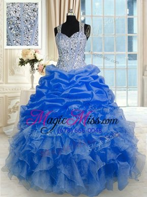 Captivating Floor Length Zipper 15th Birthday Dress Royal Blue and In for Military Ball and Sweet 16 and Quinceanera with Beading and Ruffles and Pick Ups