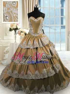 Inexpensive Brown 15th Birthday Dress Military Ball and Sweet 16 and Quinceanera and For with Beading and Appliques and Ruffled Layers Sweetheart Sleeveless Court Train Lace Up