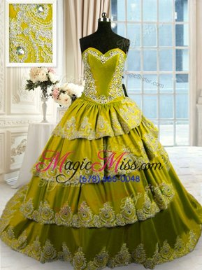 Most Popular Olive Green Sweetheart Neckline Beading and Appliques and Ruffled Layers 15th Birthday Dress Sleeveless Lace Up