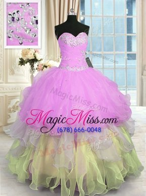 Unique Floor Length Multi-color Quinceanera Dresses Organza Sleeveless Appliques and Ruffled Layers