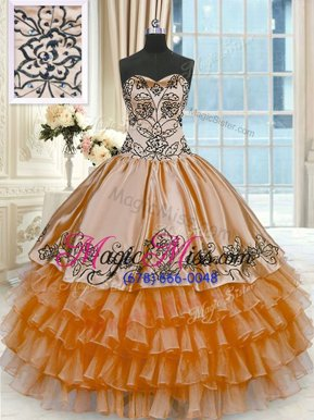 Discount Organza and Taffeta Sleeveless Floor Length Quinceanera Gown and Beading and Embroidery and Ruffled Layers