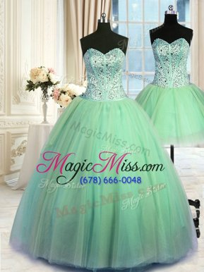 Great Three Piece Lace Up Sweetheart Beading Vestidos de Quinceanera Tulle Sleeveless