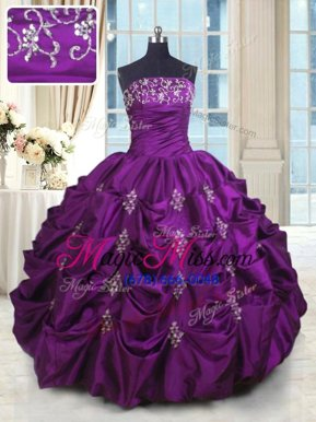 High Quality Eggplant Purple Ball Gowns Beading and Appliques and Embroidery and Pick Ups 15 Quinceanera Dress Lace Up Taffeta Sleeveless Floor Length