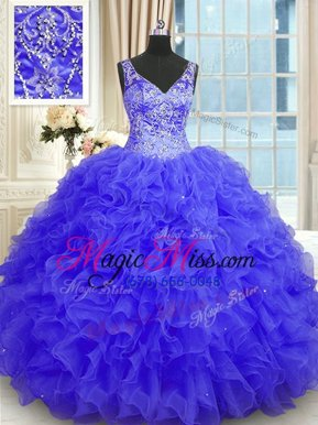 Sexy Beading and Ruffles Ball Gown Prom Dress Purple Zipper Sleeveless Floor Length