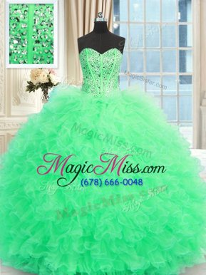 Latest Sweetheart Sleeveless Tulle Sweet 16 Dresses Beading and Ruffles Lace Up