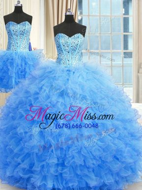 New Style Three Piece Floor Length Ball Gowns Sleeveless Baby Blue Sweet 16 Dresses Lace Up